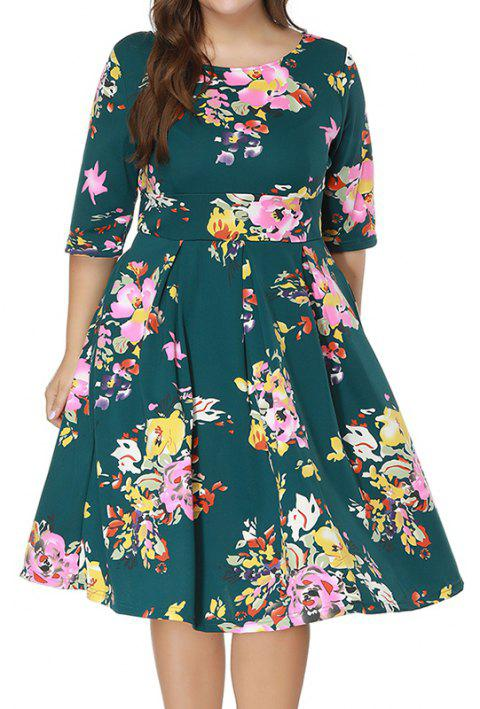 Plus Size Women's Print Half-Sleeve Different Printing Grid Dress - SEA GREEN XL