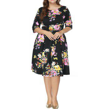 Plus Size Women's Print Half-Sleeve Round Neck Dress - BLACK 4XL