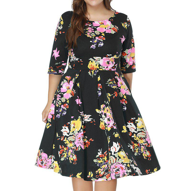 Plus Size Women's Print Half-Sleeve Round Neck Dress - BLACK 6XL