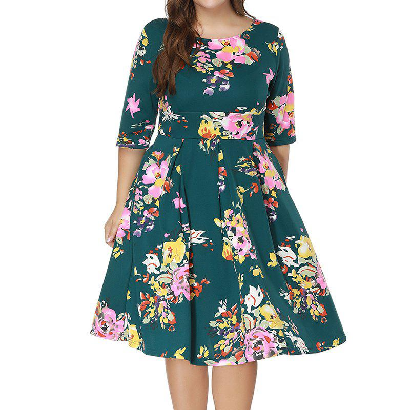 Plus Size Women's Print Half-Sleeve Round Neck Dress - SEA GREEN 4XL