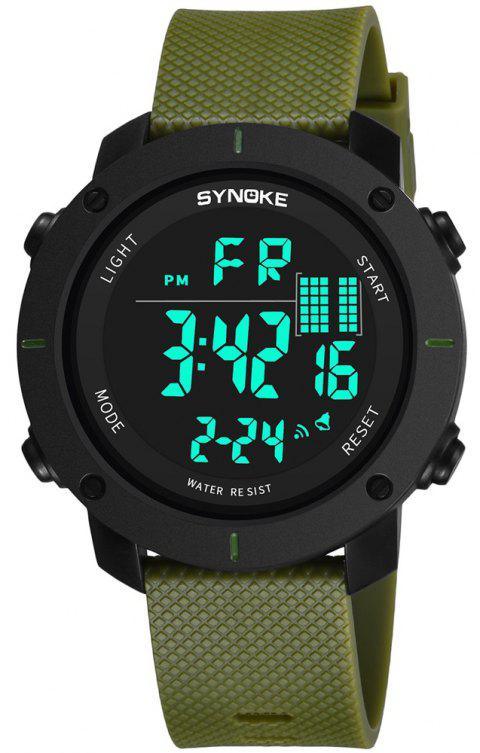 SYNOKE 9658 Outdoor Multifunction Large Dial Men Sports Electronic Watch - FERN GREEN