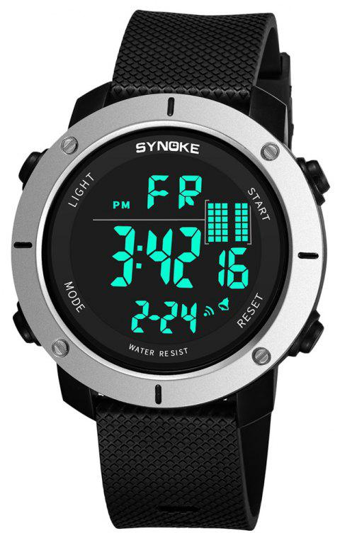 SYNOKE 9658 Outdoor Multifunction Large Dial Men Sports Electronic Watch - MILK WHITE