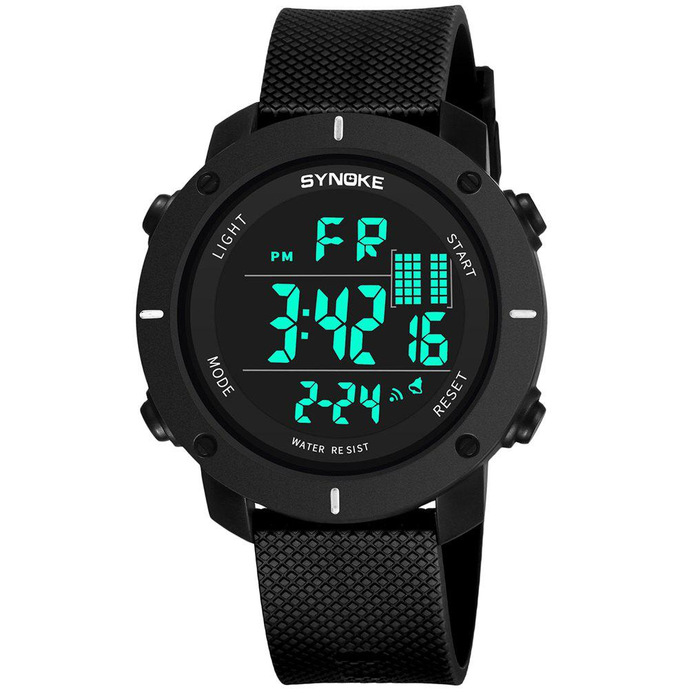 SYNOKE 9658 Outdoor Multifunction Large Dial Men Sports Electronic Watch - BLACK