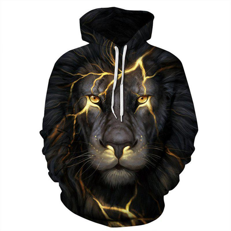 Fashion Men 3D Golden Lion Hoodie Hoody - BLACK 3XL
