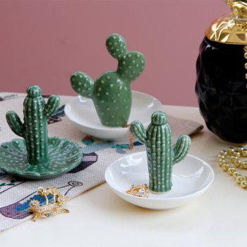 Fashion Cactus Plate Jewelry Tray Ring Storage Plate Food Decorations - MEDIUM FOREST GREEN 1PC