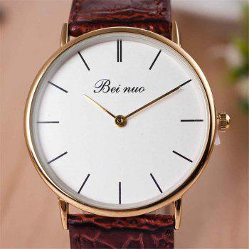 Men High-end Leather Band Fashion Quartz Watch - BROWN