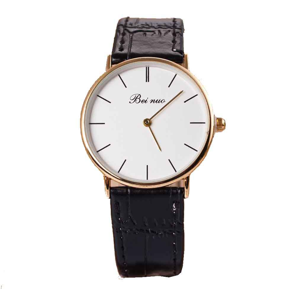 Men High-end Leather Band Fashion Quartz Watch - BLACK