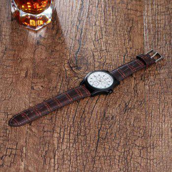 High-grade Fashionable Men Leather Band Quartz Watch - BROWN