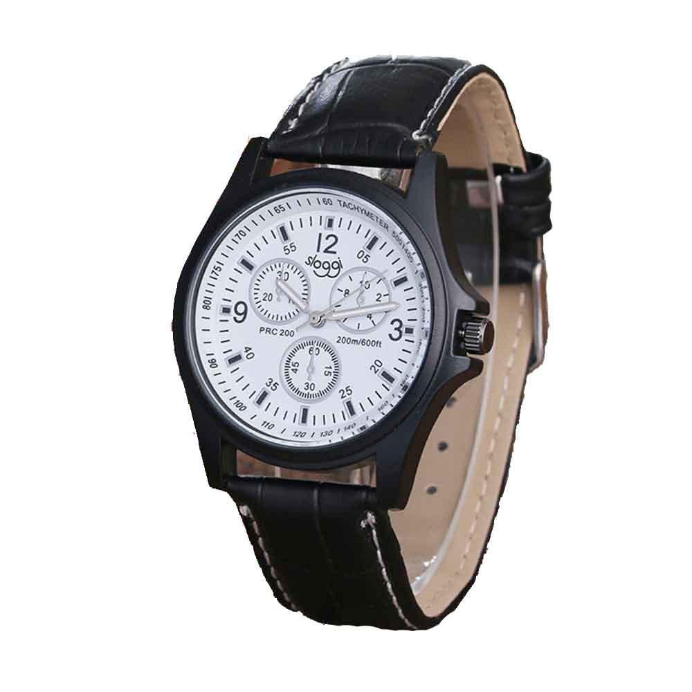 High-grade Fashionable Men Leather Band Quartz Watch - BLACK