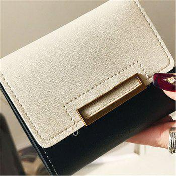 Purse Female Short Paragraph Hit Color Stitching Simple Three-fold Student Small Fresh Multifunctional Wallet - BLACK