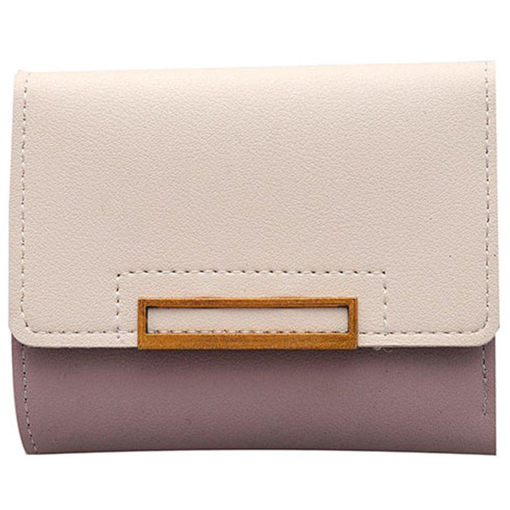 Purse Female Short Paragraph Hit Color Stitching Simple Three-fold Student Small Fresh Multifunctional Wallet - PIG PINK