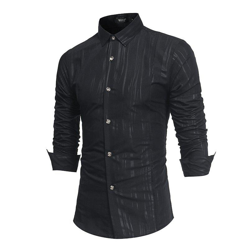 Spring and Autumn New Men'S British Fashion Dark Stripe Print Long Sleeve Slim Shirt - BLACK 2XL