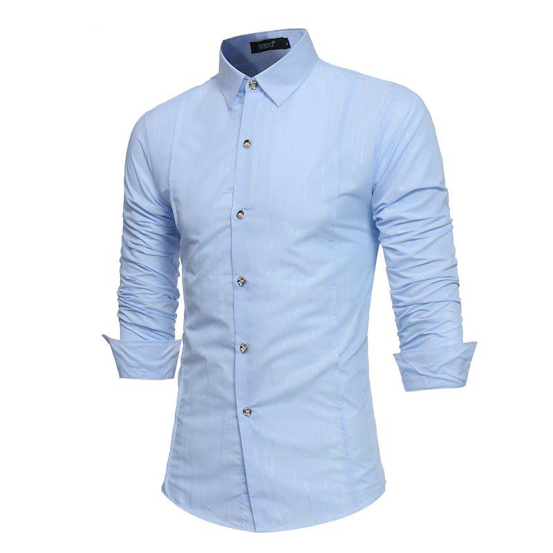 Spring and Autumn New Men'S British Fashion Dark Stripe Print Long Sleeve Slim Shirt - SKY BLUE M