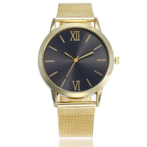Roman Stainless Steel Mesh Watch - BLACK GOLD