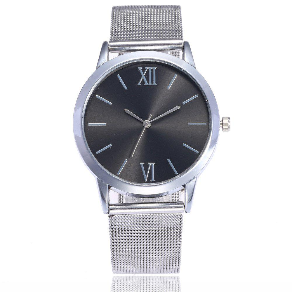 Roman Stainless Steel Mesh Watch - SILVER BLACK