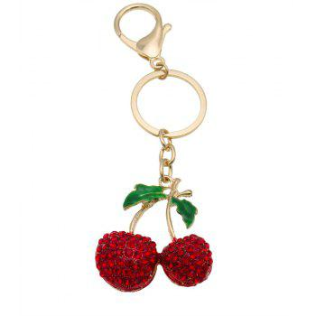 Creative Cherry Shape Decoration Rhinestone Key Chain - RED