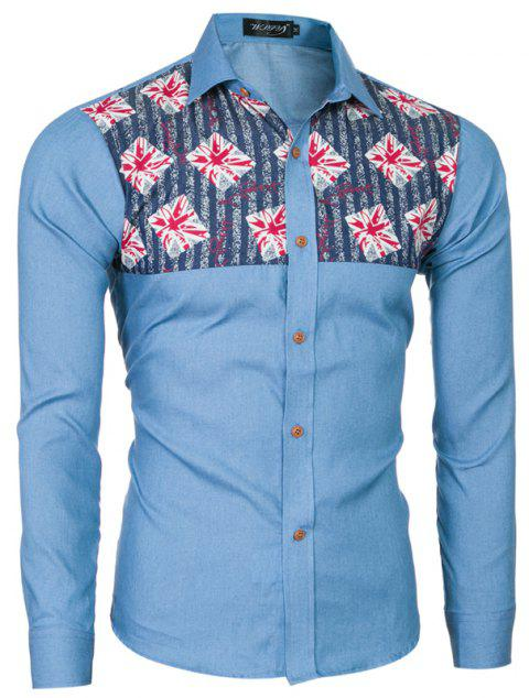 2018 Spring and Summer New Foreign Trade Boutique Men's Stitching Denim Long-sleeved Shirt - LIGHT BLUE 2XL