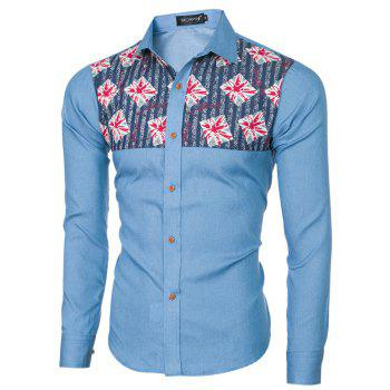 2018 Spring and Summer New Foreign Trade Boutique Men's Stitching Denim Long-sleeved Shirt - LIGHT BLUE XL