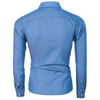 2018 Spring and Summer New Foreign Trade Boutique Men's Stitching Denim Long-sleeved Shirt - ROYAL BLUE XL