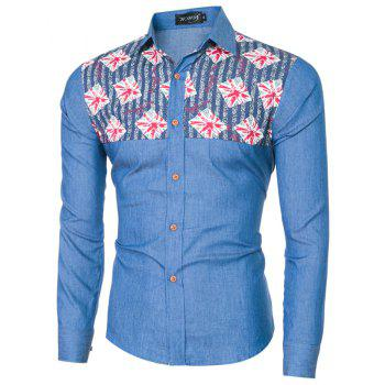 2018 Spring and Summer New Foreign Trade Boutique Men's Stitching Denim Long-sleeved Shirt - ROYAL BLUE L