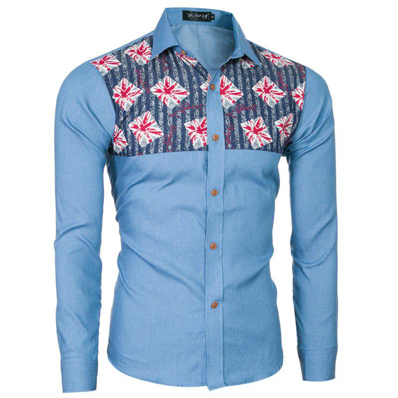 2018 Spring and Summer New Foreign Trade Boutique Men's Stitching Denim Long-sleeved Shirt - LIGHT BLUE M