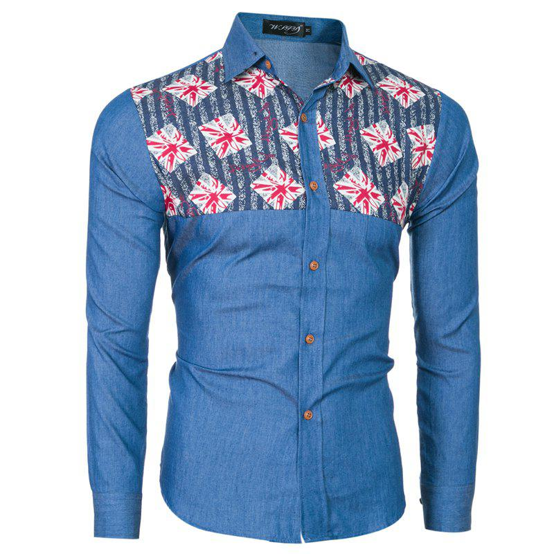 2018 Spring and Summer New Foreign Trade Boutique Men's Stitching Denim Long-sleeved Shirt - ROYAL BLUE M