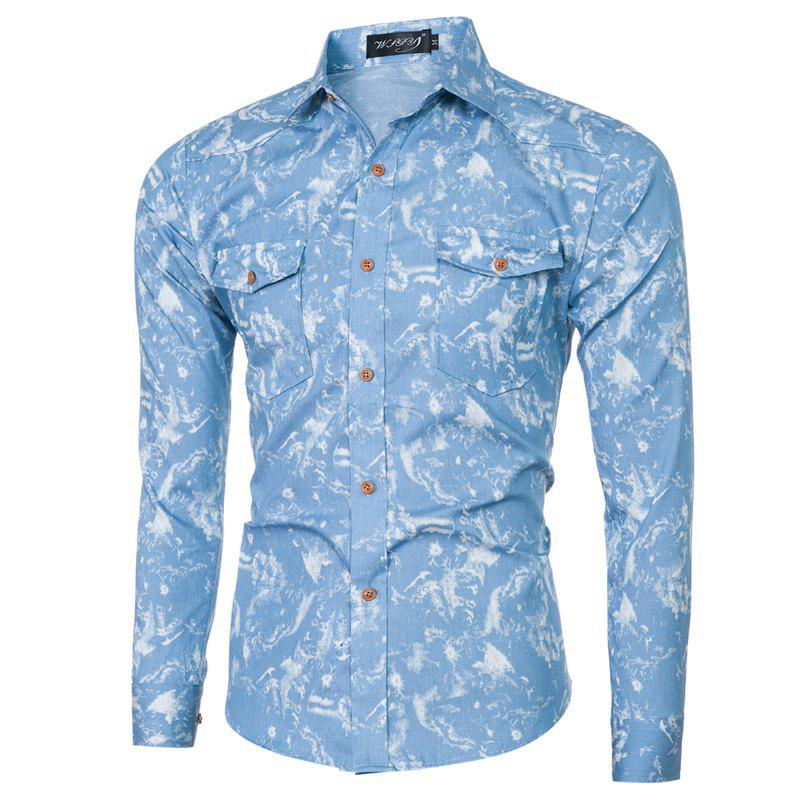 2018 Spring and Summer New Foreign Trade Classic Denim Men's Slim Long-sleeved Shirt - LIGHT BLUE XL