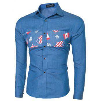 2018 New Fashion Hommes Stitch Shirt à manches longues - [