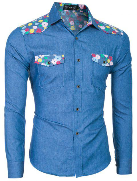 2018 Spring/Summer New Men's Denim Fabric Long Sleeve Shirt - ROYAL BLUE M