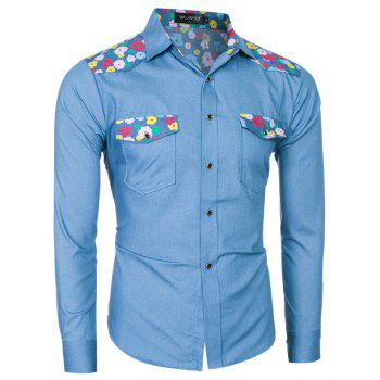 2018 Spring/Summer New Men's Denim Fabric Long Sleeve Shirt - LIGHT BLUE M