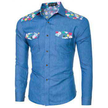 2018 Spring/Summer New Men's Denim Fabric Long Sleeve Shirt - ROYAL BLUE L