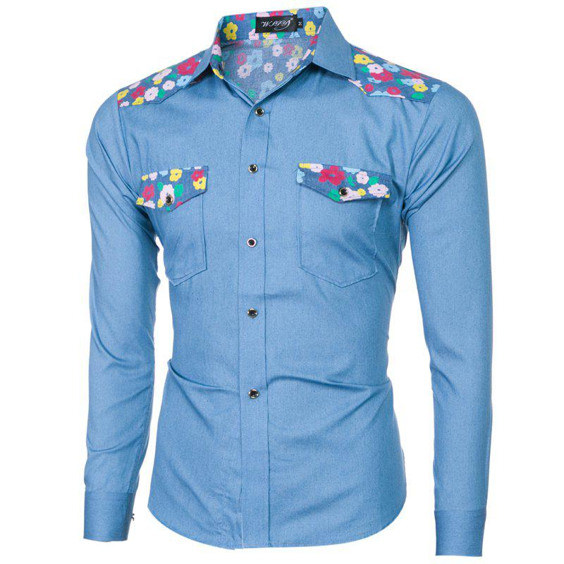 2018 Spring/Summer New Men's Denim Fabric Long Sleeve Shirt - LIGHT BLUE 2XL
