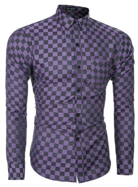 2018 Spring and Summer New Men's Casual Fashion Small Plaid Long-sleeved Shirt - PURPLE IRIS M