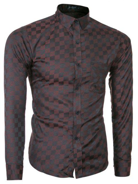 2018 Spring and Summer New Men's Casual Fashion Small Plaid Long-sleeved Shirt - COFFEE M
