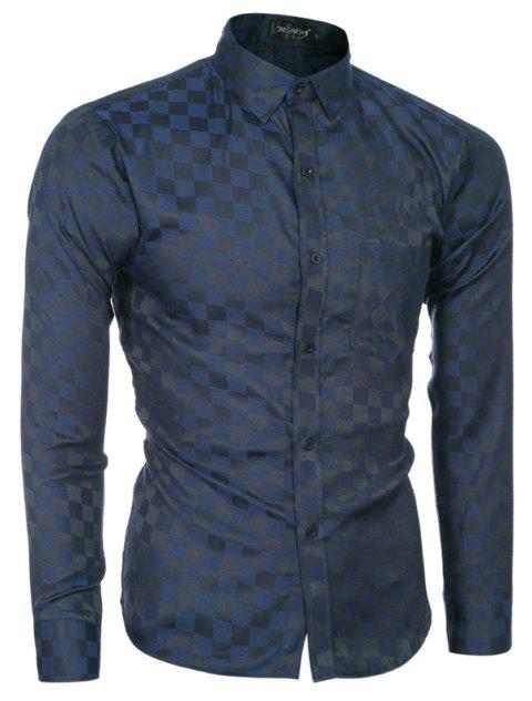 2018 Spring and Summer New Men's Casual Fashion Small Plaid Long-sleeved Shirt - MIDNIGHT BLUE 2XL