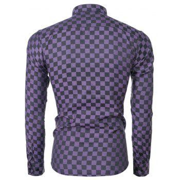 2018 Spring and Summer New Men's Casual Fashion Small Plaid Long-sleeved Shirt - PURPLE IRIS XL