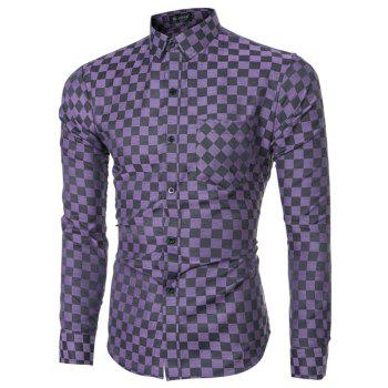 2018 Spring and Summer New Men's Casual Fashion Small Plaid Long-sleeved Shirt - PURPLE IRIS L
