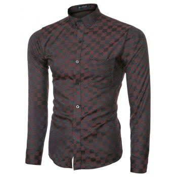 2018 Spring and Summer New Men's Casual Fashion Small Plaid Long-sleeved Shirt - COFFEE L