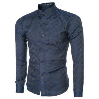 2018 Spring and Summer New Men's Casual Fashion Small Plaid Long-sleeved Shirt - MIDNIGHT BLUE XL
