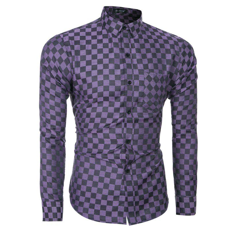 2018 Spring and Summer New Men's Casual Fashion Small Plaid Long-sleeved Shirt - PURPLE IRIS 2XL
