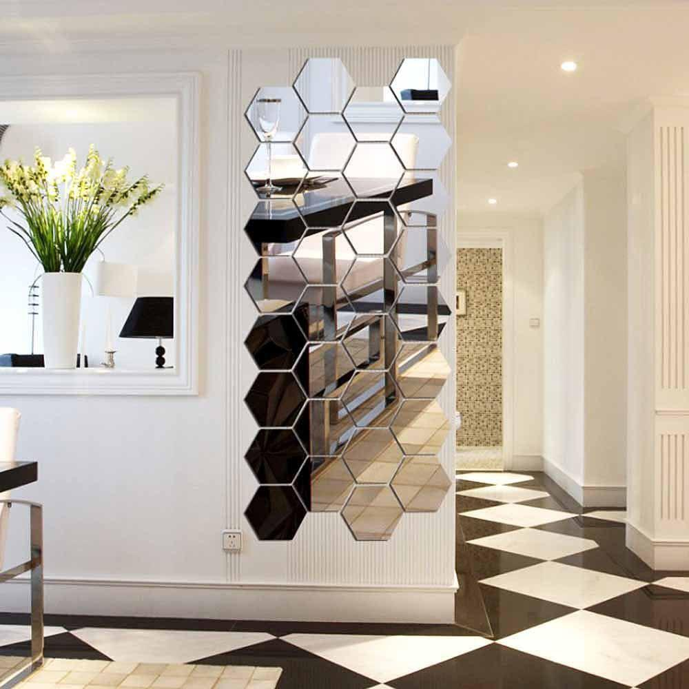 Hexagonal Mirror 3D Wall Sticker Home Furnishing Bedroom Decoration 12Pcs (Silver) - SILVER