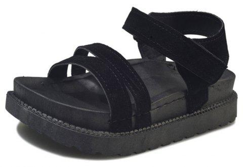 New Word Buckle Flat Sandals Low Open Toe Female Shoes - BLACK 40