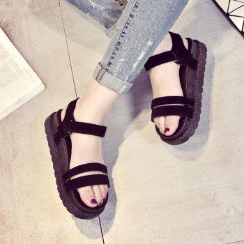 New Word Buckle Flat Sandals Low Open Toe Female Shoes - BLACK 37