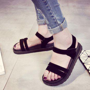 New Word Buckle Flat Sandals Low Open Toe Female Shoes - BLACK 39