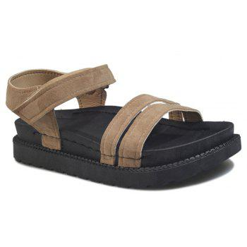 New Word Buckle Flat Sandals Low Open Toe Female Shoes - YELLOW 35