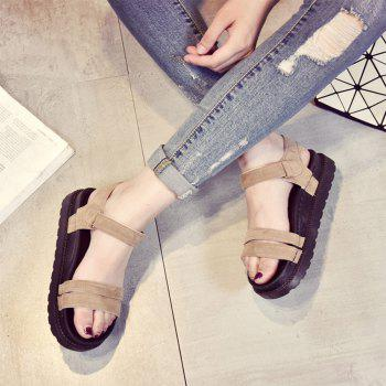 New Word Buckle Flat Sandals Low Open Toe Female Shoes - YELLOW 37