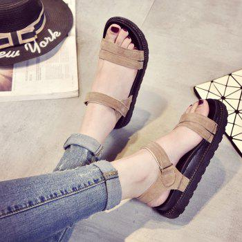 New Word Buckle Flat Sandals Low Open Toe Female Shoes - YELLOW 38
