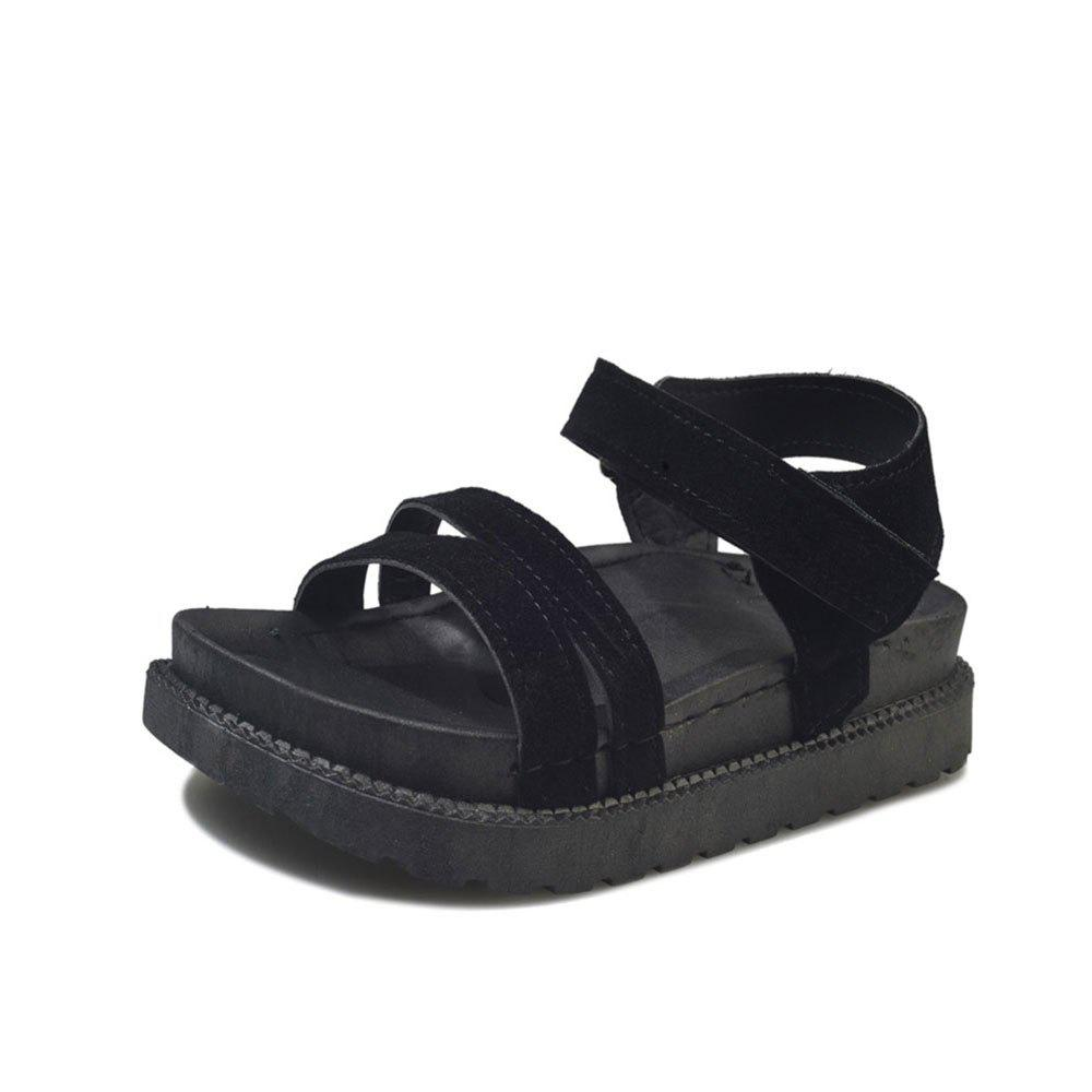 New Word Buckle Flat Sandals Low Open Toe Female Shoes - BLACK 38