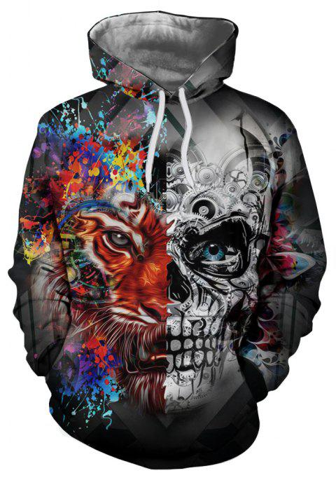 New Fashion Skull 3D Printing Men's Hoodie - multicolor A XL