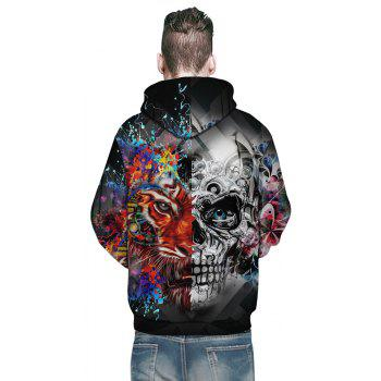 New Fashion Skull 3D Printing Men's Hoodie - multicolor A 3XL